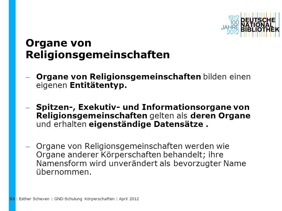 Organe von Religionsgemeinschaften
