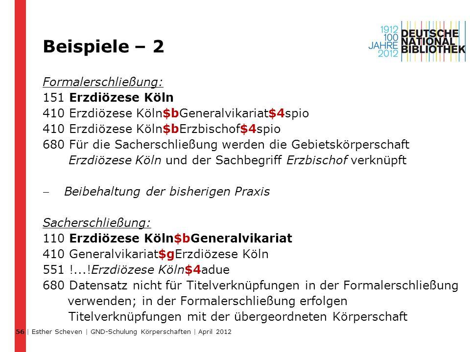 Beispiele – 2 Formalerschließung: 151 Erzdiözese Köln