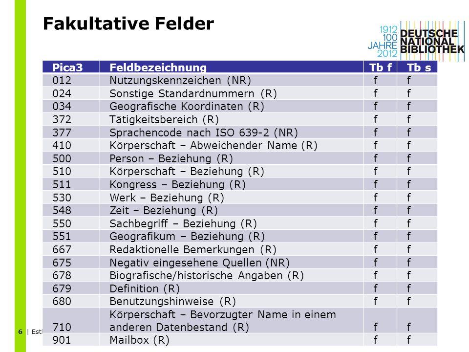Fakultative Felder Pica3 Feldbezeichnung Tb f Tb s 012