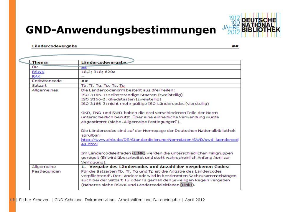 GND-Anwendungsbestimmungen