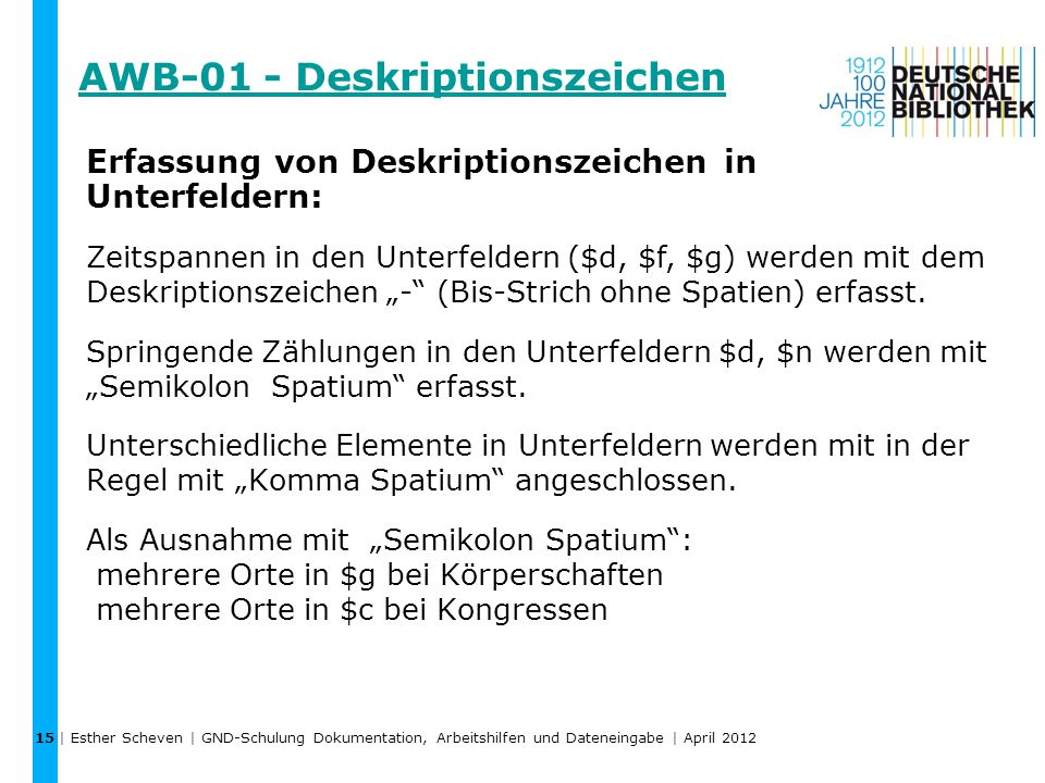 AWB-01 - Deskriptionszeichen
