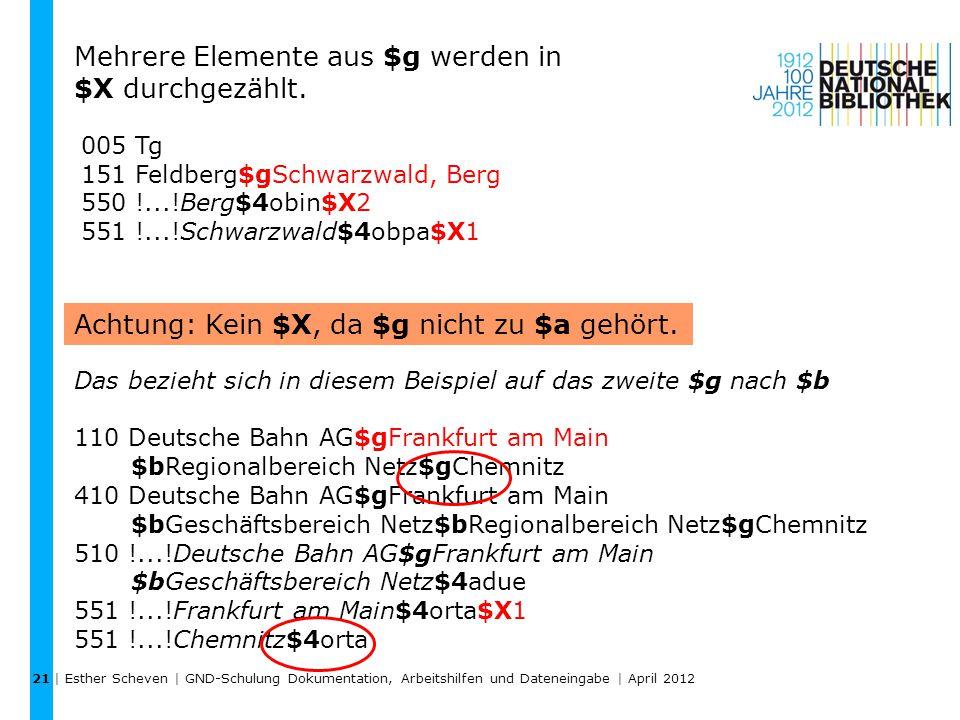 Mehrere Elemente aus $g werden in $X durchgezählt.