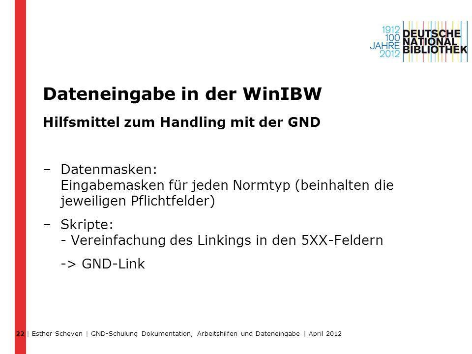 Dateneingabe in der WinIBW