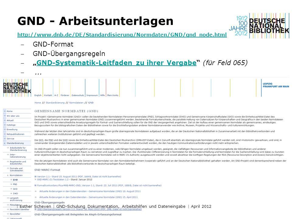 GND - Arbeitsunterlagen http://www. dnb
