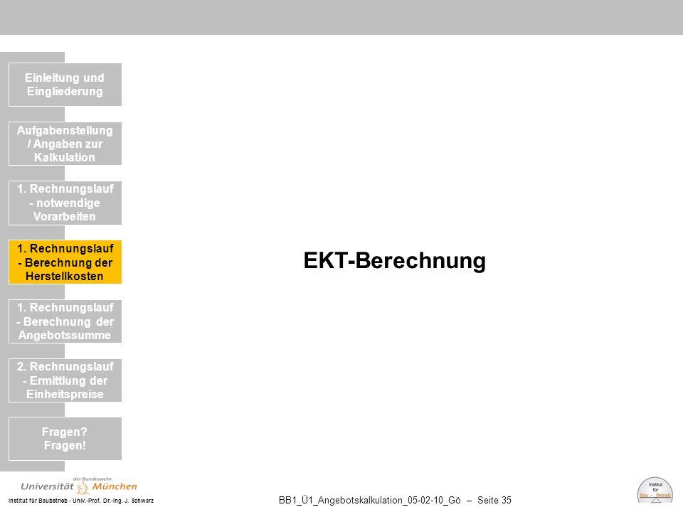 EKT-Berechnung Einleitung und Eingliederung