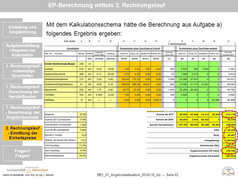 EP-Berechnung mittels 2. Rechnungslauf