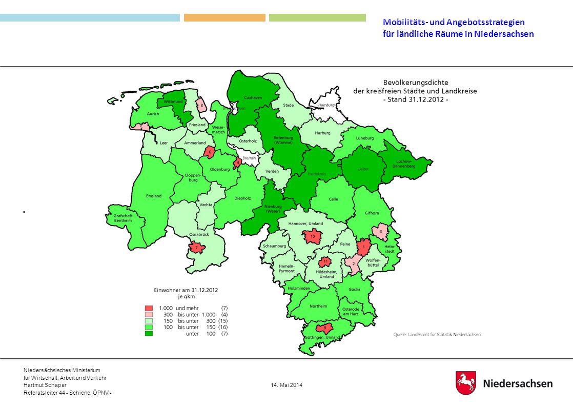 Die Karte zeigt, dass Niedersachsen ganz wesentlich aus ländlichem Raum besteht.