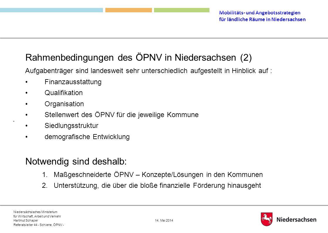 Rahmenbedingungen des ÖPNV in Niedersachsen (2)