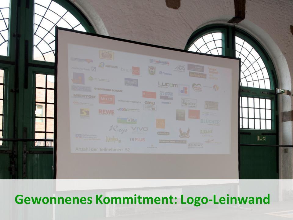 Gewonnenes Kommitment: Logo-Leinwand