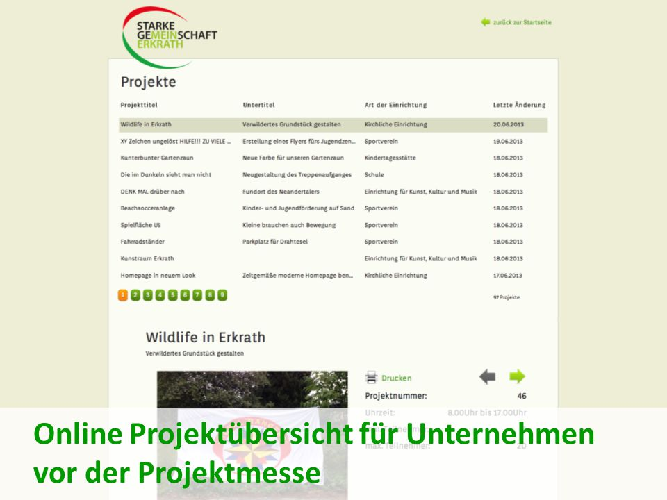 Online Projektübersicht für Unternehmen vor der Projektmesse