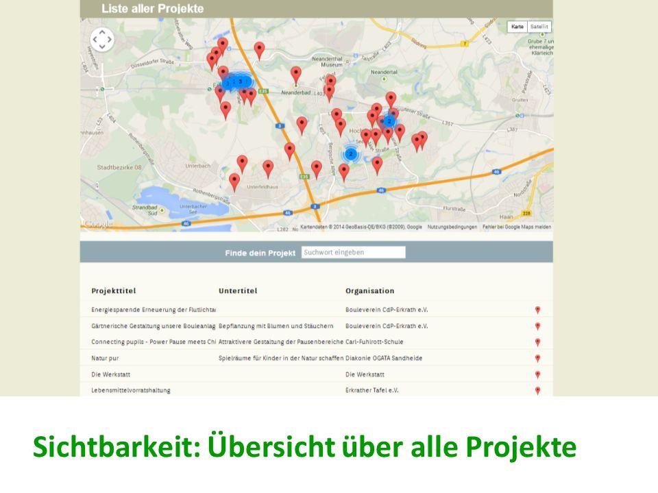 Sichtbarkeit: Übersicht über alle Projekte