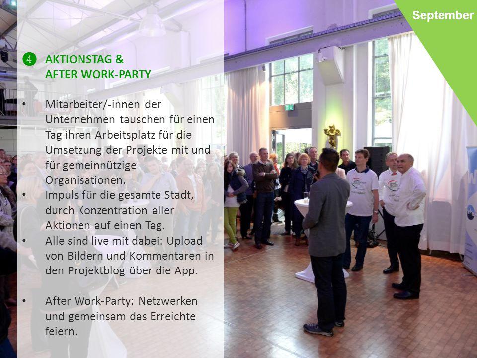 After Work-Party: Netzwerken und gemeinsam das Erreichte feiern.