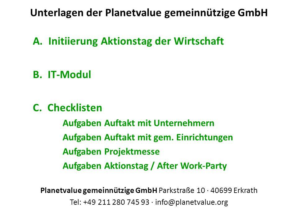 Unterlagen der Planetvalue gemeinnützige GmbH