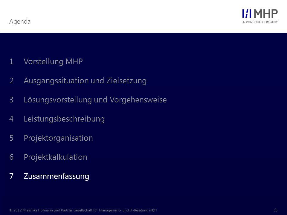 Vorstellung MHP Ausgangssituation und Zielsetzung. Lösungsvorstellung und Vorgehensweise. Leistungsbeschreibung.