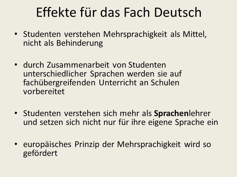 Effekte für das Fach Deutsch