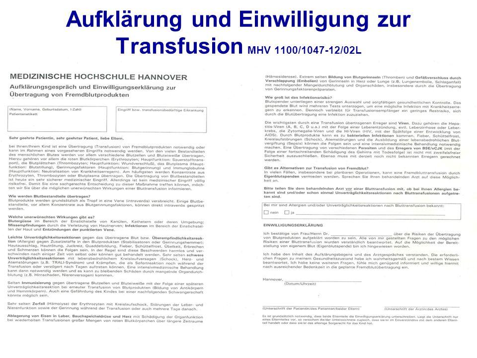 Aufklärung und Einwilligung zur Transfusion MHV 1100/1047-12/02L