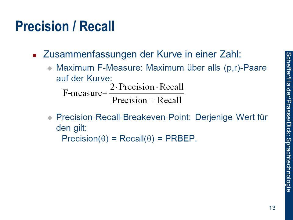 Precision / Recall Zusammenfassungen der Kurve in einer Zahl: