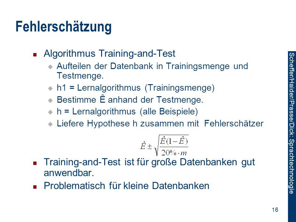 Fehlerschätzung Algorithmus Training-and-Test