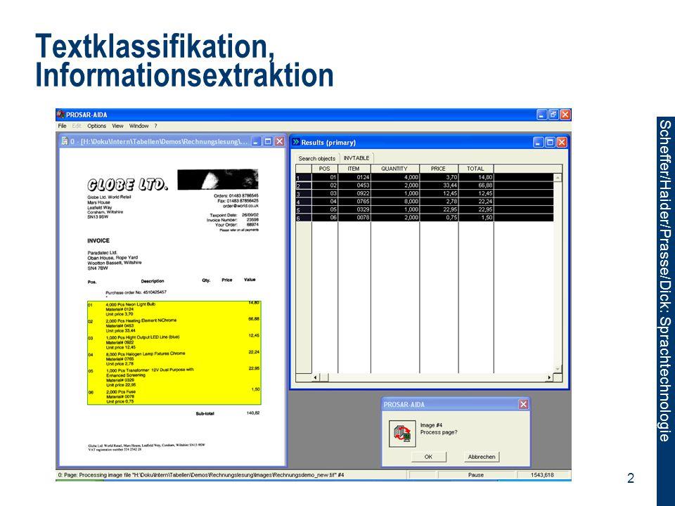 Textklassifikation, Informationsextraktion