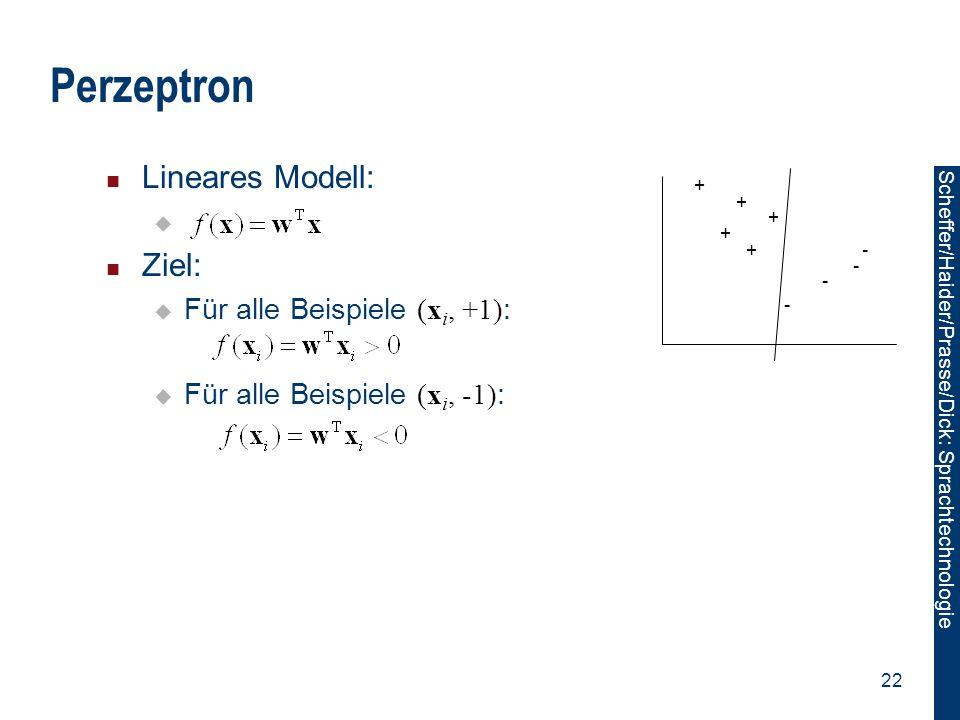 Perzeptron Lineares Modell: Ziel: Für alle Beispiele (xi, +1):