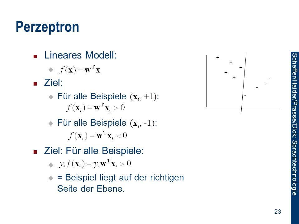 Perzeptron Lineares Modell: Ziel: Ziel: Für alle Beispiele: