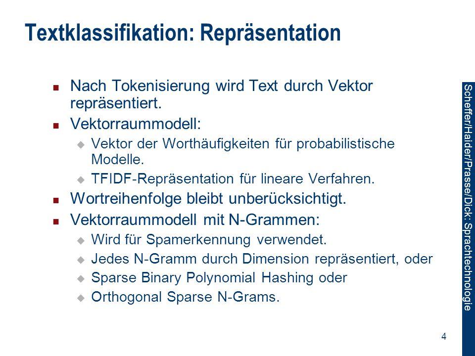 Textklassifikation: Repräsentation