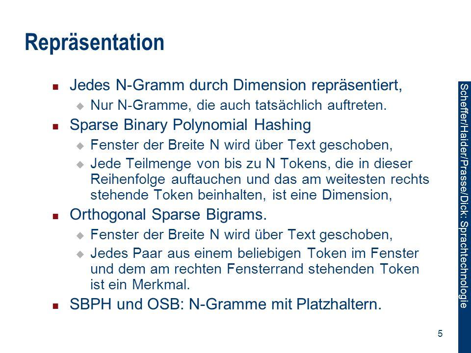 Repräsentation Jedes N-Gramm durch Dimension repräsentiert,