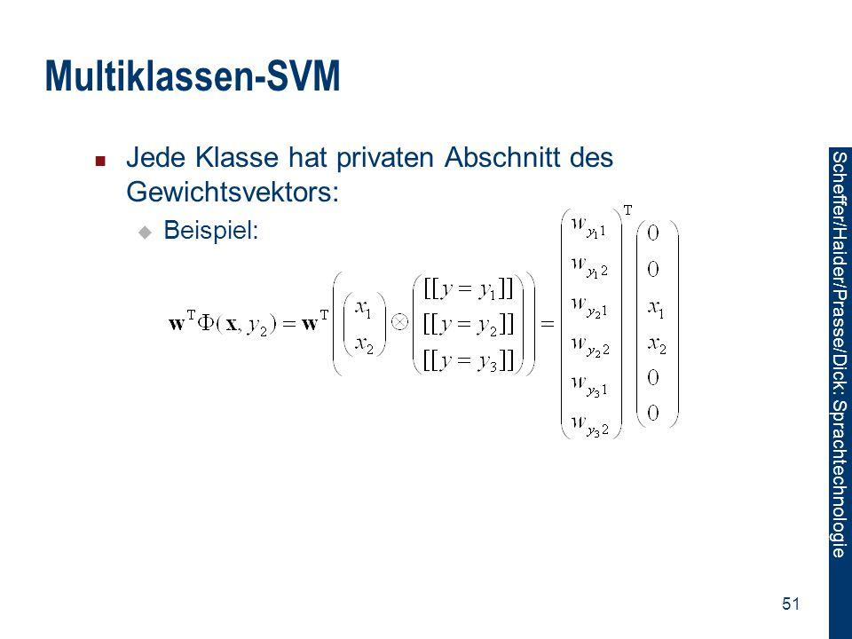Multiklassen-SVM Jede Klasse hat privaten Abschnitt des Gewichtsvektors: Beispiel: 51