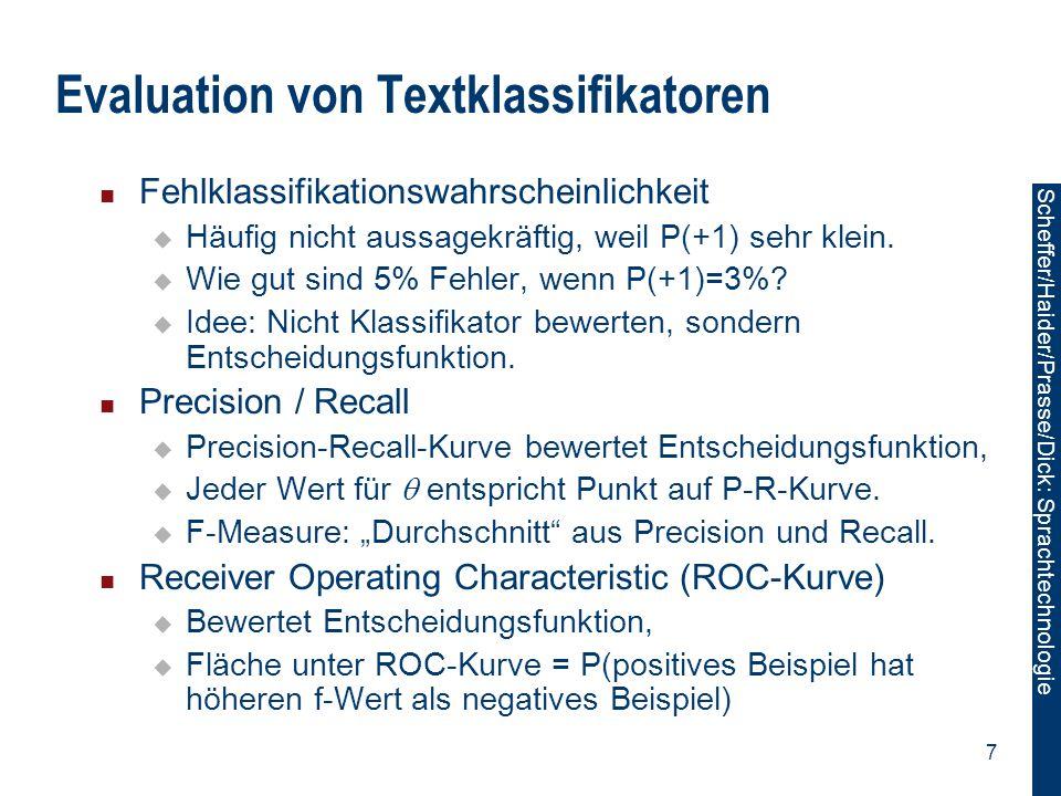 Evaluation von Textklassifikatoren