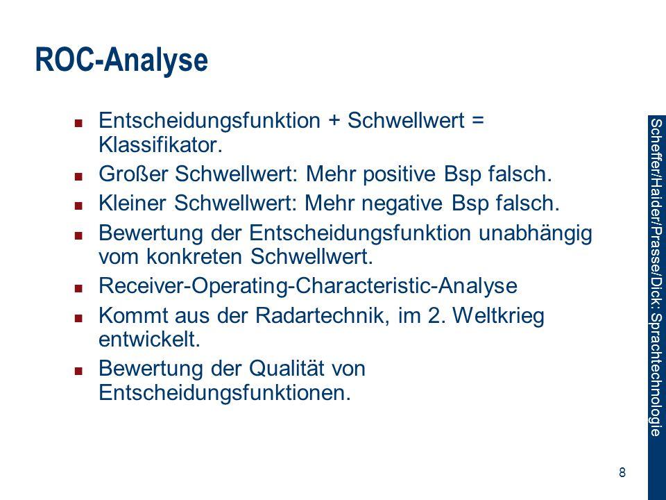 ROC-Analyse Entscheidungsfunktion + Schwellwert = Klassifikator.
