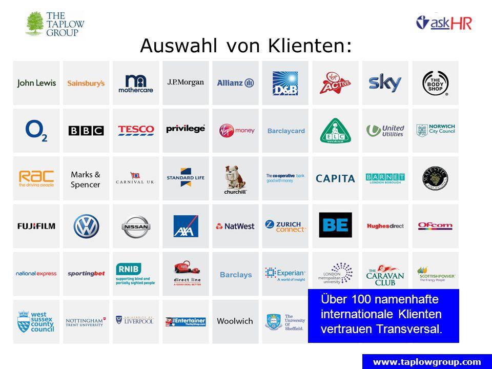 Auswahl von Klienten: Über 100 namenhafte internationale Klienten vertrauen Transversal.