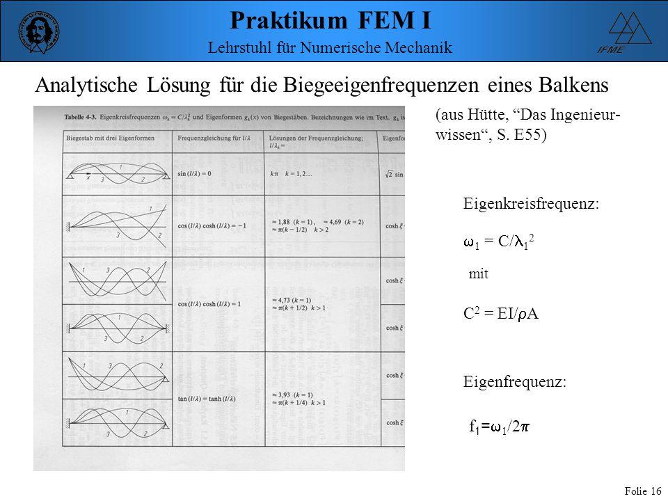 Analytische Lösung für die Biegeeigenfrequenzen eines Balkens