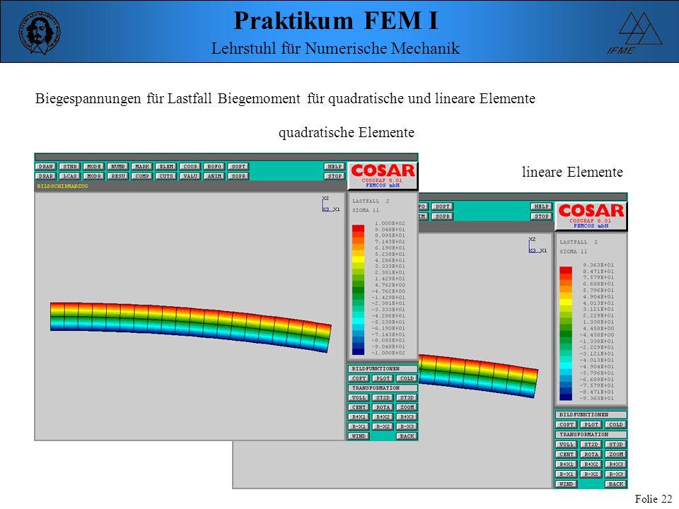Biegespannungen für Lastfall Biegemoment für quadratische und lineare Elemente