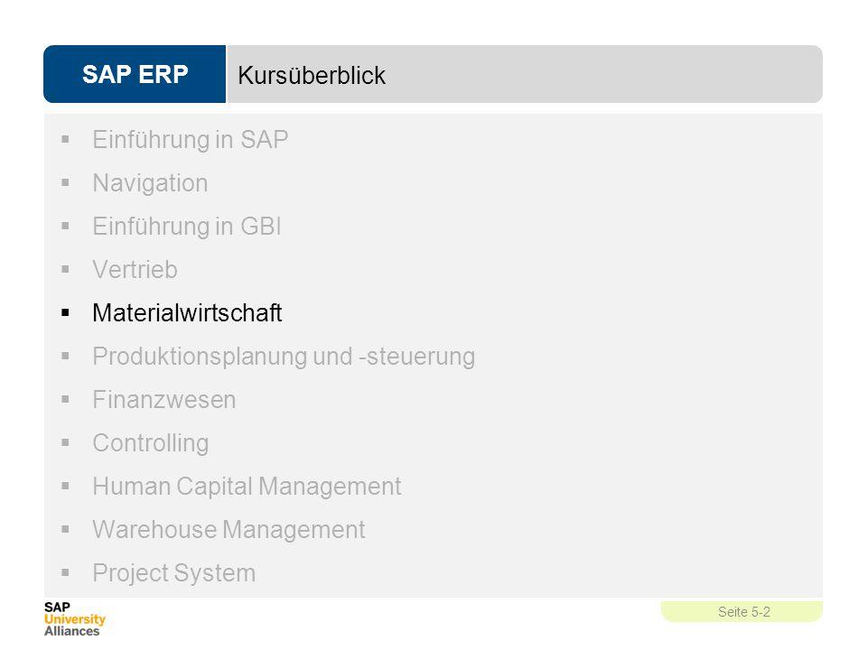 Kursüberblick Einführung in SAP. Navigation. Einführung in GBI. Vertrieb. Materialwirtschaft. Produktionsplanung und -steuerung.