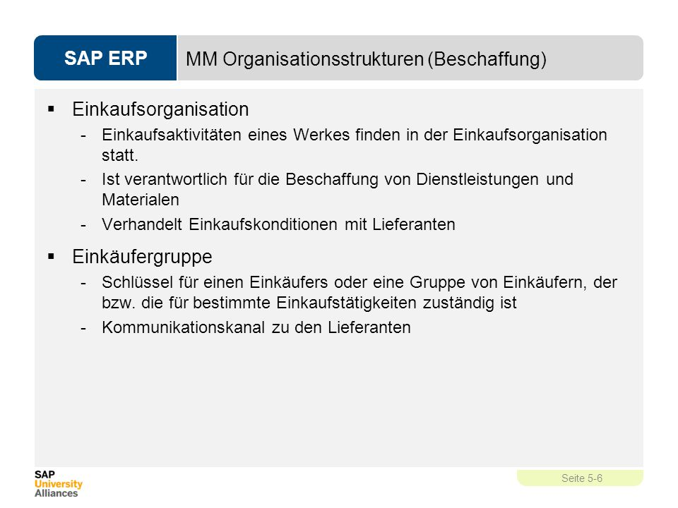 MM Organisationsstrukturen (Beschaffung)
