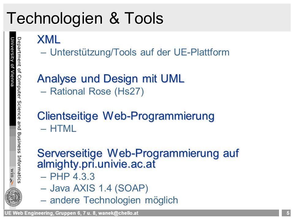 Technologien & Tools XML Analyse und Design mit UML