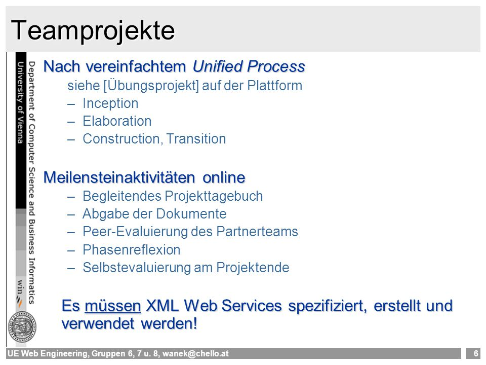Teamprojekte Nach vereinfachtem Unified Process