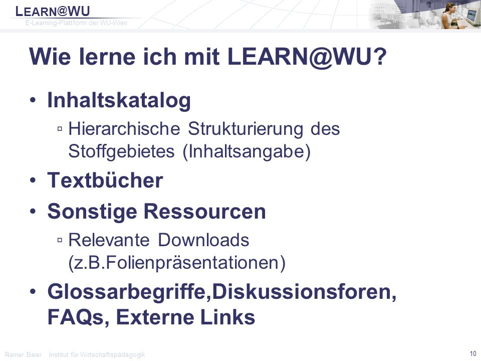 Wie lerne ich mit LEARN@WU