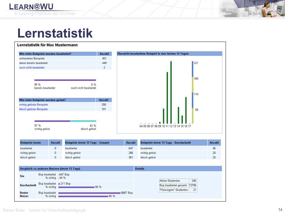 Lernstatistik Rainer Baier Institut für Wirtschaftspädagogik