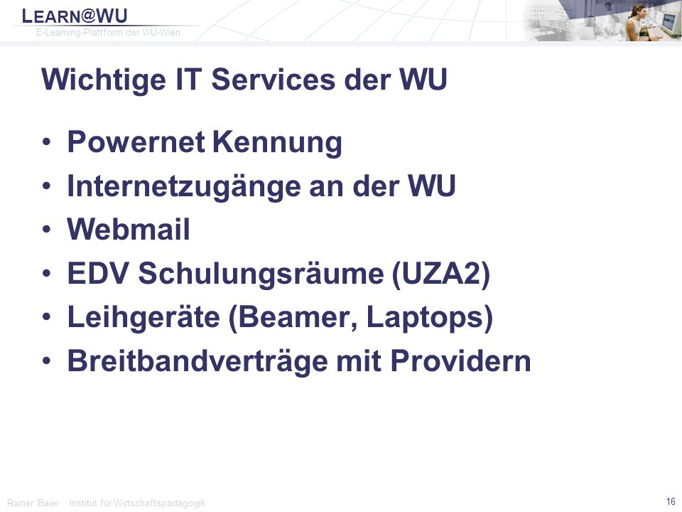 Wichtige IT Services der WU
