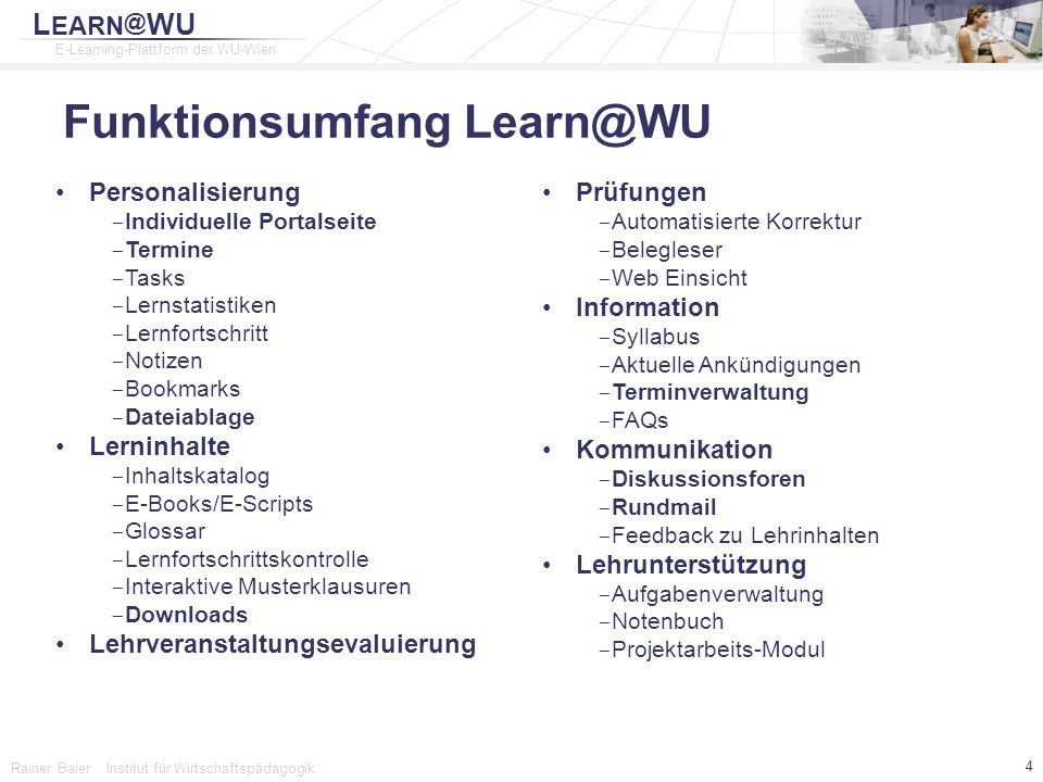 Funktionsumfang Learn@WU