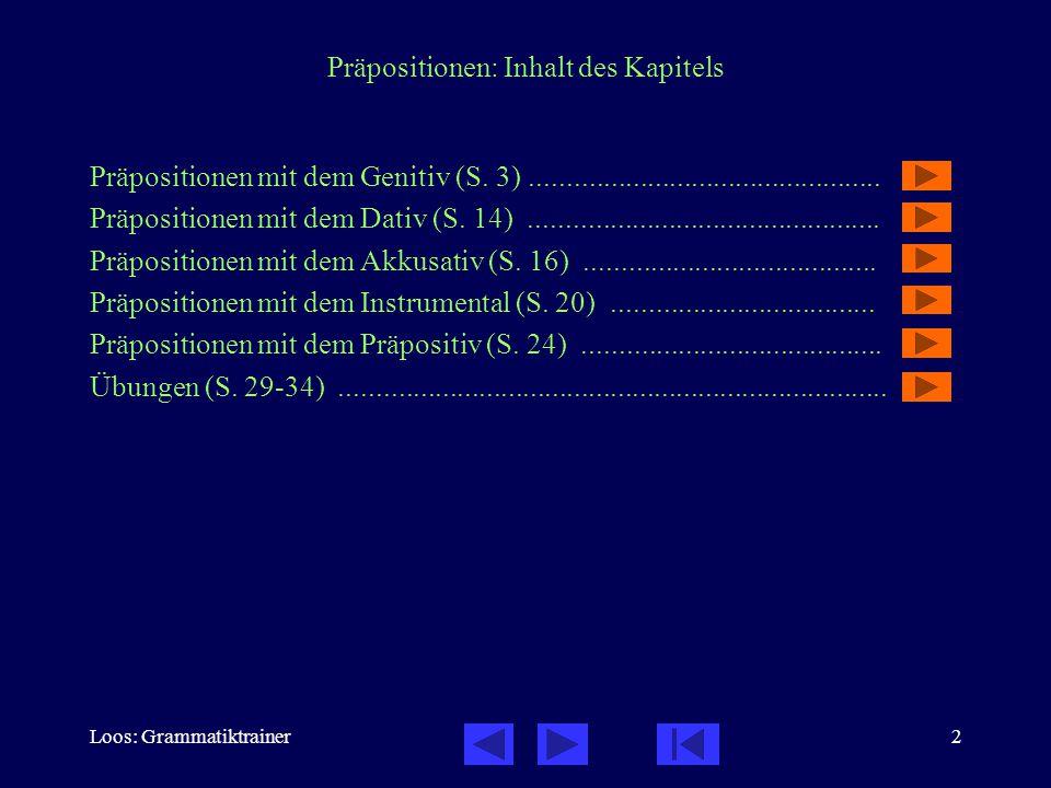 Präpositionen: Inhalt des Kapitels