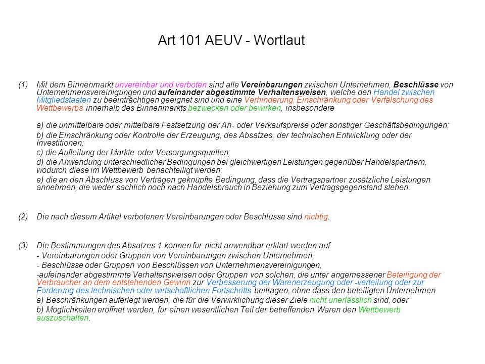 Art 101 AEUV - Wortlaut