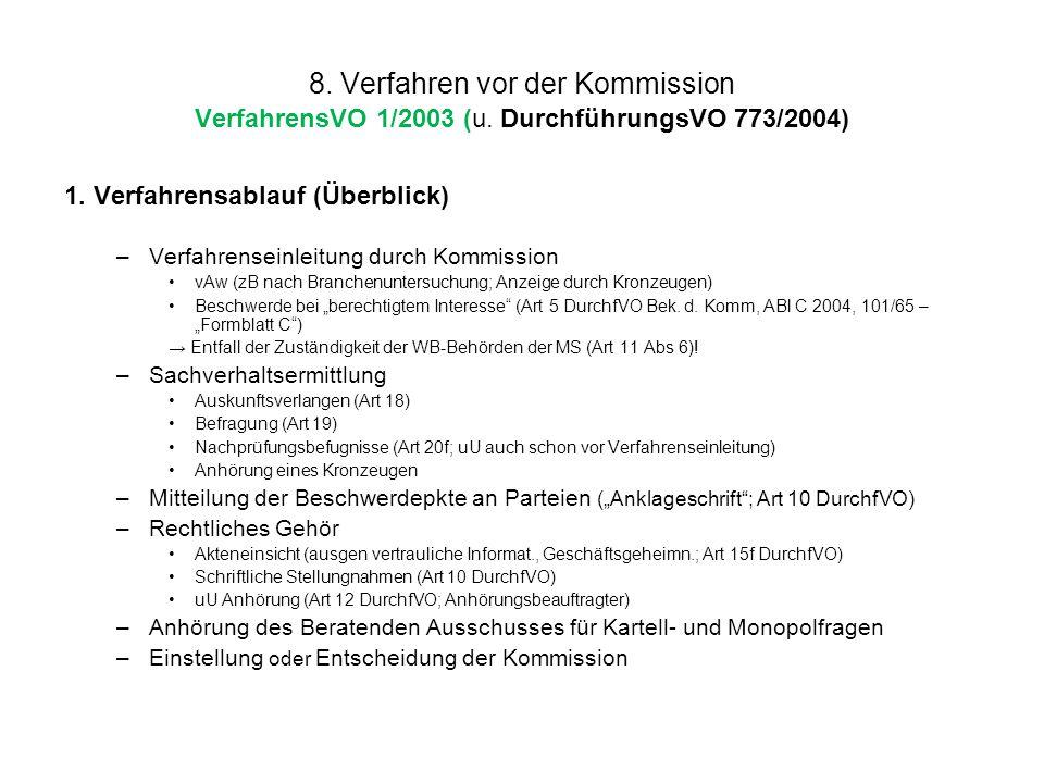 8. Verfahren vor der Kommission VerfahrensVO 1/2003 (u