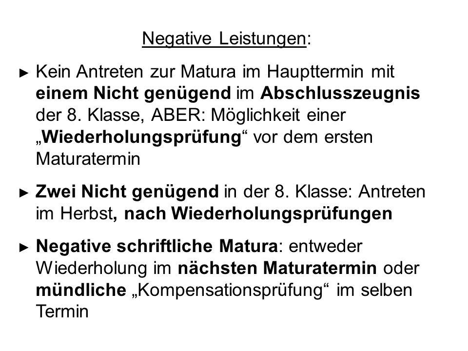 Negative Leistungen: