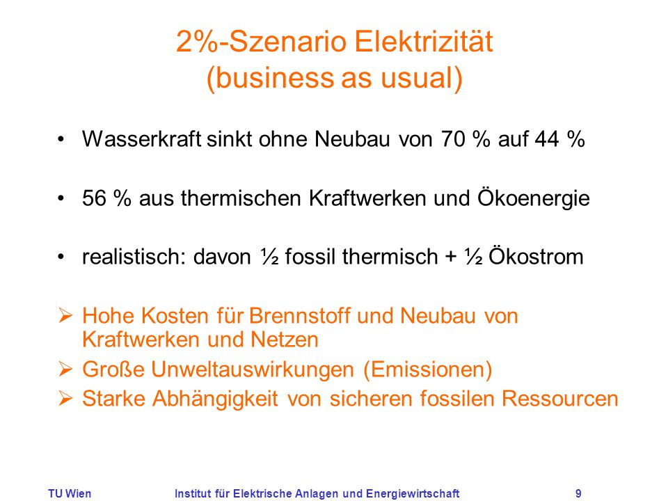 2%-Szenario Elektrizität (business as usual)