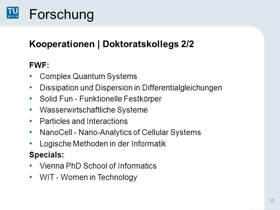 Forschung Kooperationen | Doktoratskollegs 2/2 FWF: