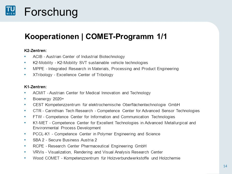 Forschung Kooperationen | COMET-Programm 1/1 K2-Zentren: