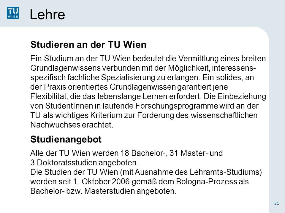 Lehre Studieren an der TU Wien Studienangebot