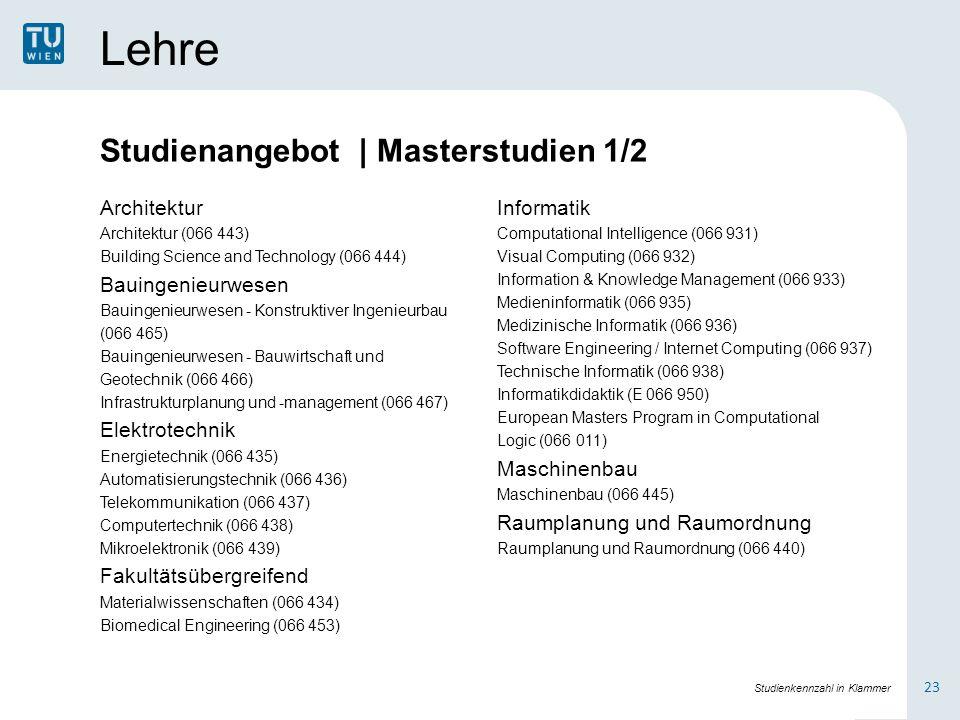 Lehre Studienangebot | Masterstudien 1/2 Architektur Bauingenieurwesen